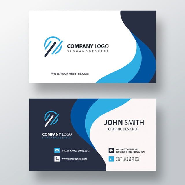 Blue Wavy Business Card Graphic Design Business Card Business Card Psd Business Cards Creative