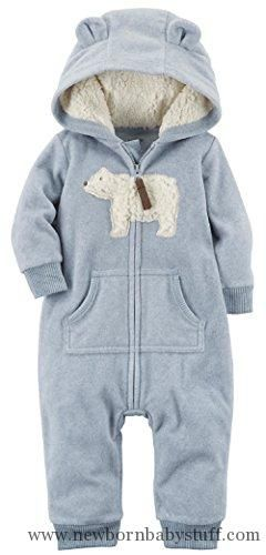 Baby Boy Clothes Carter's Baby Boys' One Piece Polar Bear Fleece Jumpsuit 3 Months