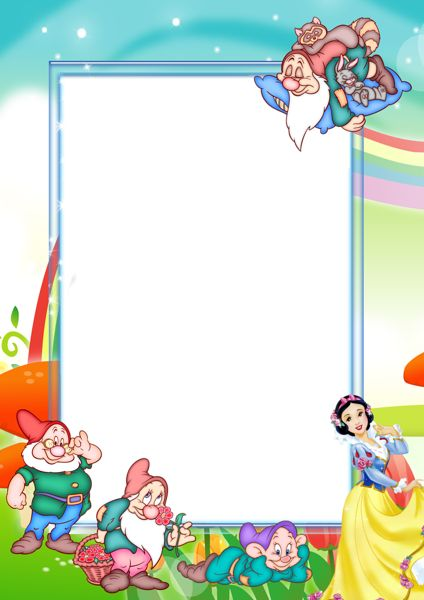 Transparent Kids PNG Photo Frame with Snow-White and Seven Dwarfs