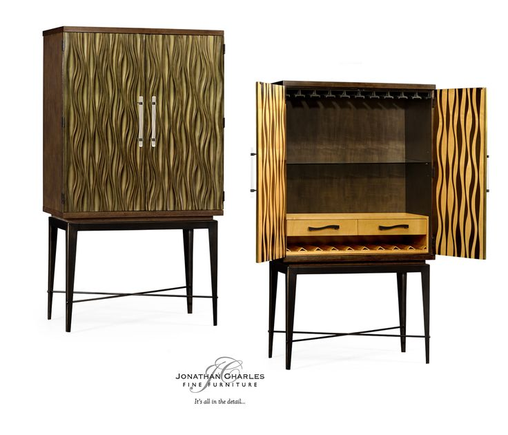 Chestnut drinks cabinet with textured bronze antique rub-through doors #JCmodern #jonathancharles #jonathan_charles_russia #jonathancharlesrussia #jonathancharlesfurniture