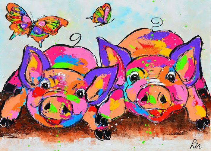 vrolijke varkentjes - www.vrolijkschilderij.nl