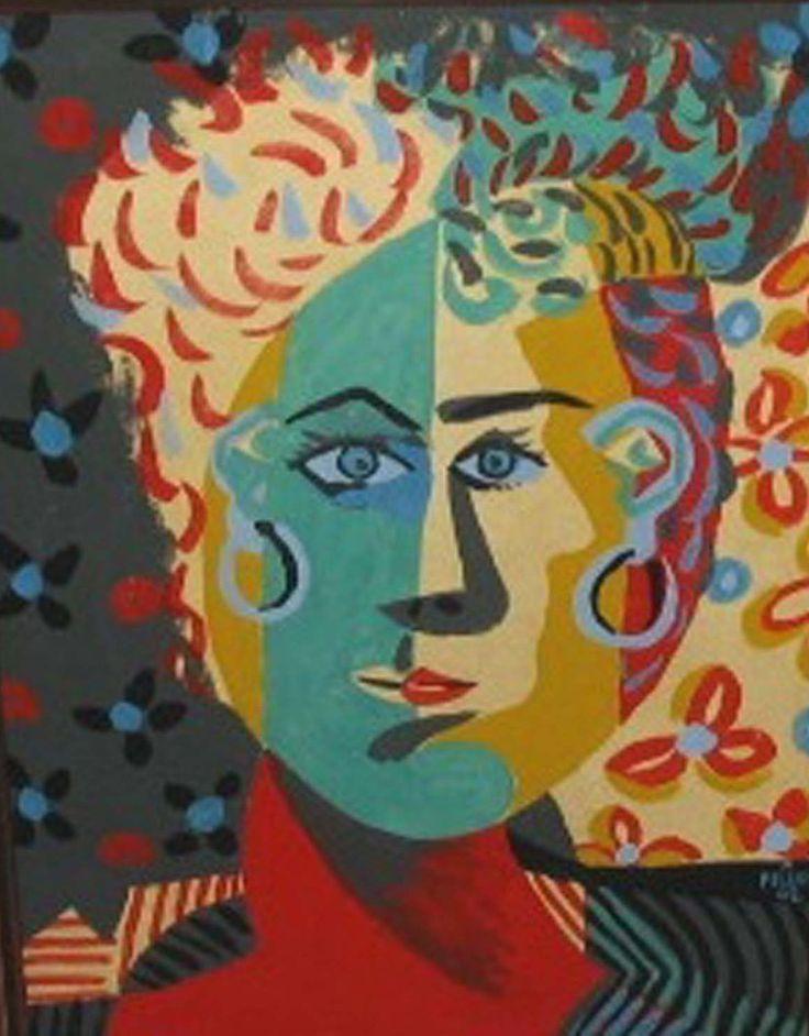 """Alfred Pellan   """"  Tête de Jeune Femme sur Fond Fleuri  """"  huile sur papier, 1942"""