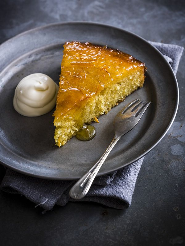 Orange marmalade slump cake: Somewhere between a cake and a pud, this slump is a dense, rich almond and polenta cake. Serve warm with a generous dollop of crème fraîche. This recipe is really easy but looks really impressive