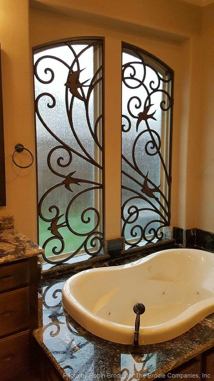 17 best images about tableaux faux iron window treatments for Decorative windows for bathrooms
