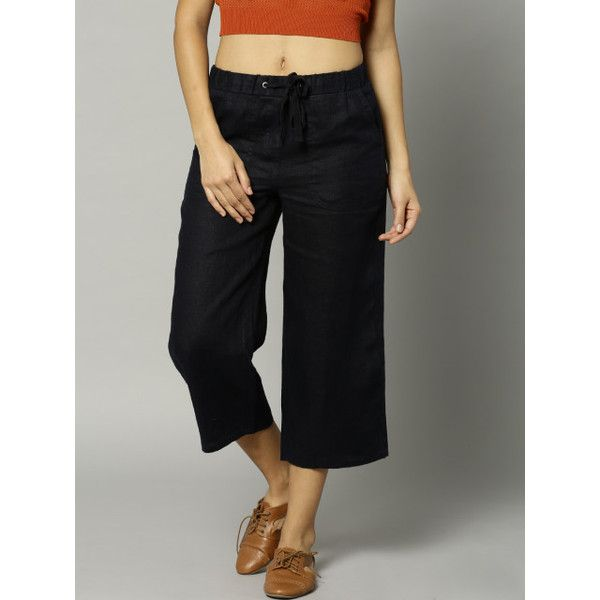 Buy Marks & Spencer Navy Linen Cropped Trousers -  - Apparel for Women ❤ liked on Polyvore featuring pants, capris, linen trousers, navy blue trousers, navy blue pants, navy linen pants and navy pants