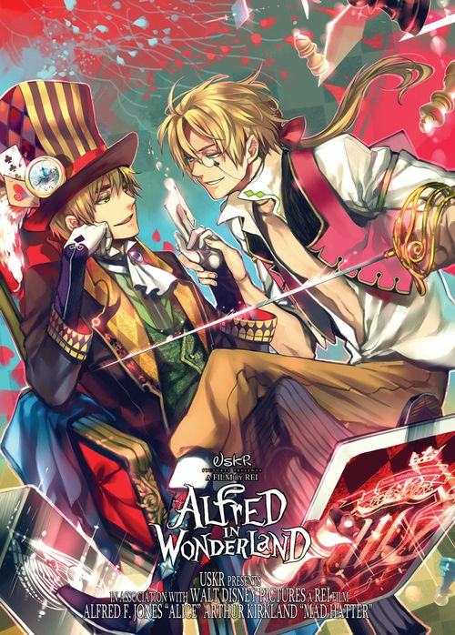 """I don't typically post art of this type, but this one is extremely well done. (""""Hetalia / Alice in Wonderland crossover"""")"""