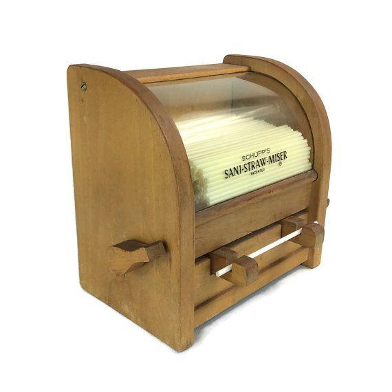 Vintage Straw Dispenser Vintage Diner Kitchen by EndicottVintage