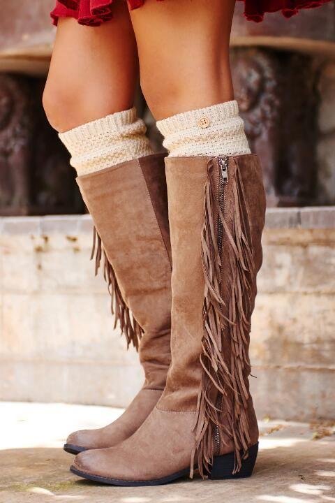 Tiberius Fringe Knee High Boot