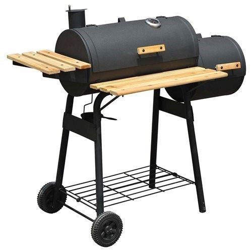 Outsunny Backyard Charcoal (Grey) BBQ Grill / Offset Smoker Combo w/ Wheels