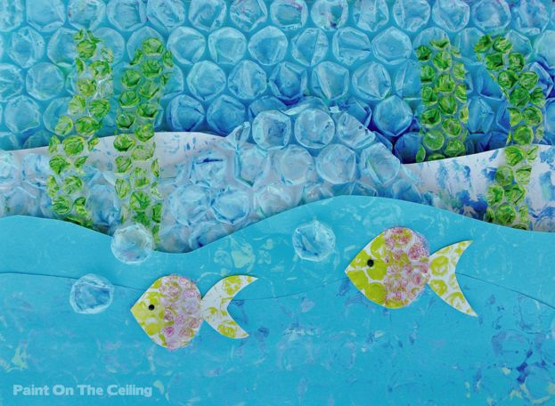 Paint On The Ceiling: Bubble wrap printing & collage. 3d wall display for seaside or water animals.