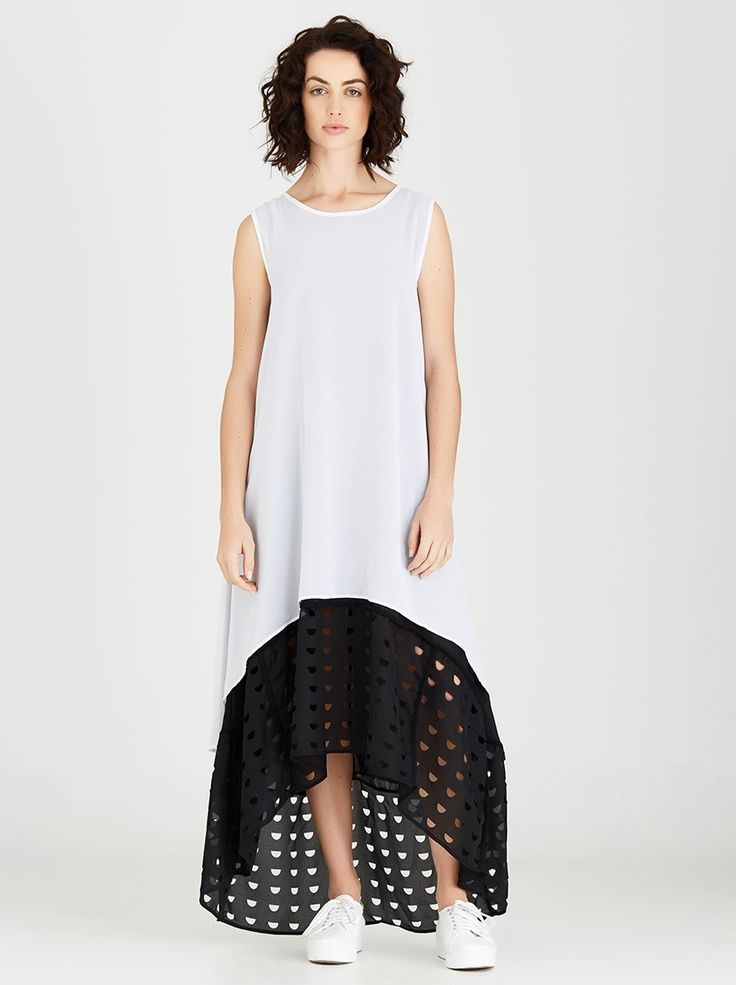 Double Flare Laser-cut Hem Maxi Dress Black and White