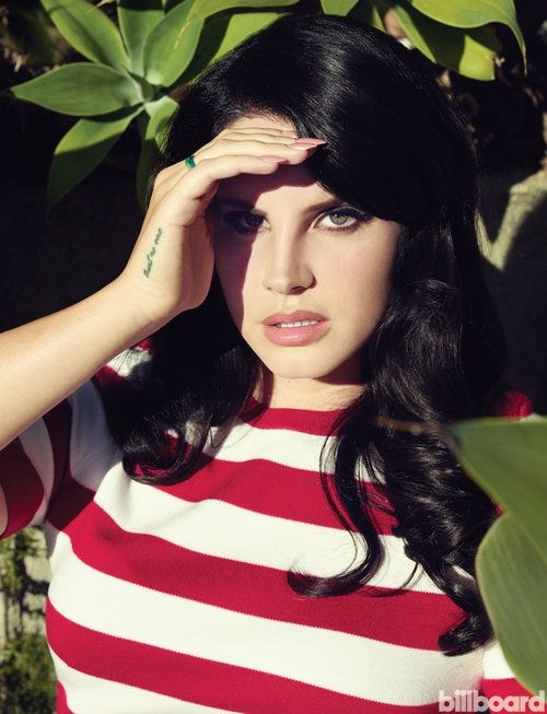 Lana Del Rey wears a striped t-shirt in red and white for Billboard Magazine October 2015 Photoshoot
