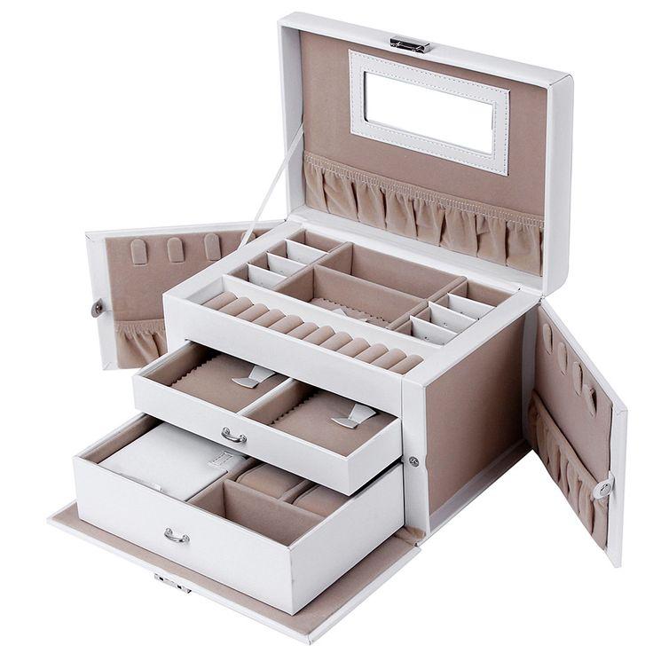 Songmics Caja Joyero Joyas Aretes Dijes anillo de la pulsera joyería caja de almacenamiento de regalo JBC121W: Amazon.es: Hogar
