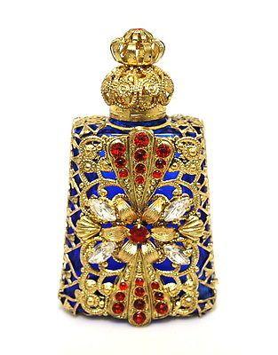Czech Blue Silver Filigree Blue Perfume Bottle / Wholesale