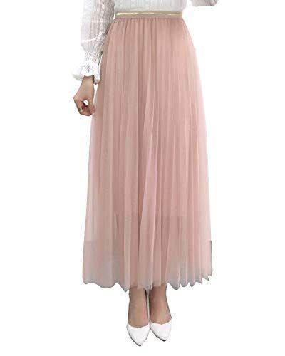 bd78dad93a Falda Tul Mujer Falda Midi Plisada con Cintura Elástica para Uso Diario  Oficina Fiesta Pink