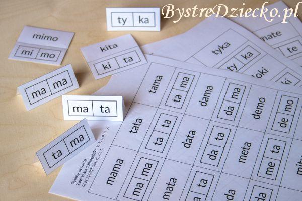Proste wyrazy z podziałem na sylaby otwarte do nauki czytania metodą sylabową // Simple words divided into syllables open for reading by syllables [in Polish]