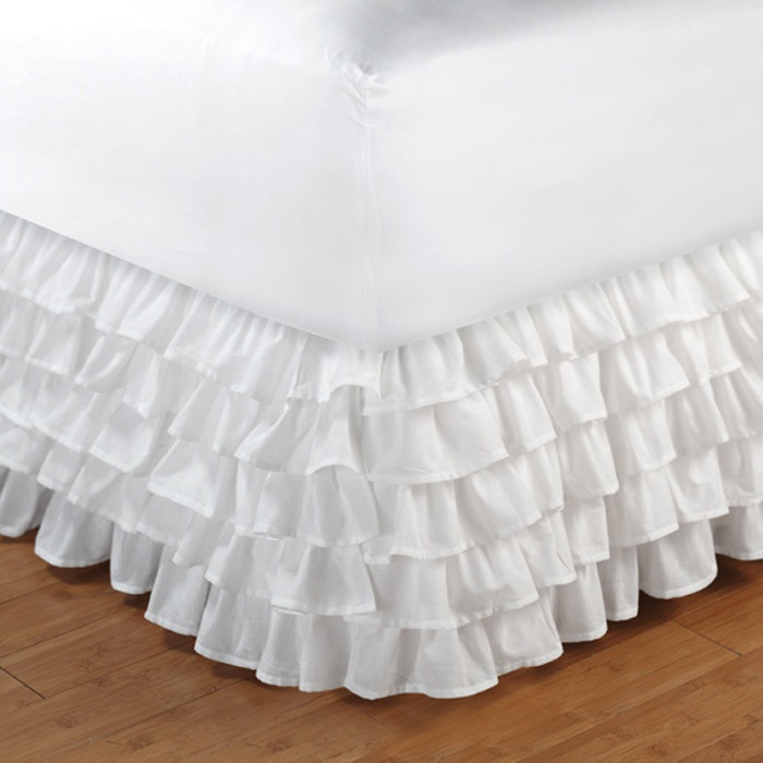 Multi-Ruffle Bedskirt in White