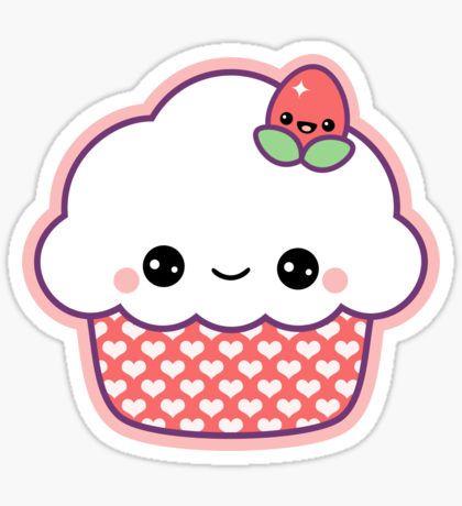 Cute Strawberry Cupcake Sticker