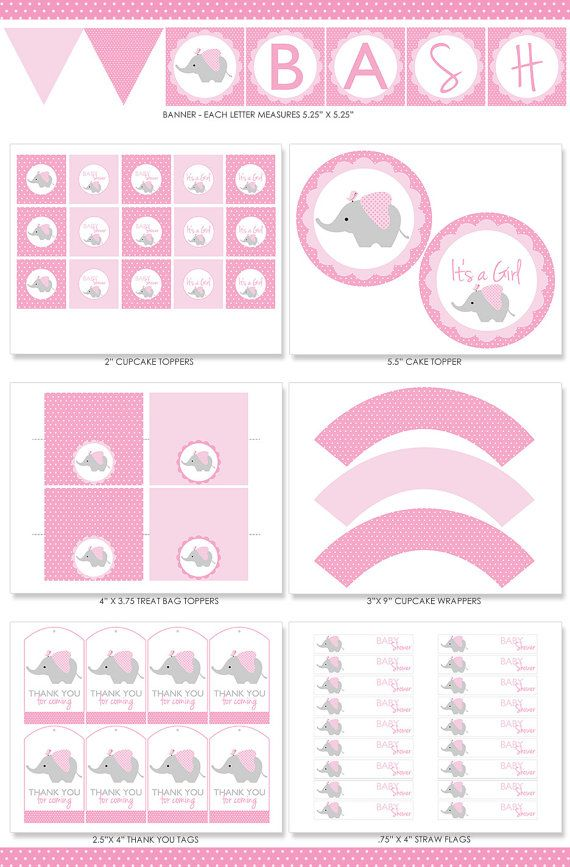 Elefante rosa bebé ducha partido paquete elefante rosa decoración imprimible Kit, su chica, elefante con aves