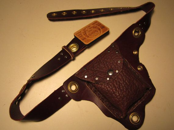 Hand Made Leather UTILITY BELT,FREE Shipping, w/ Seed of Life Steal your face Grateful Dead Head Wood Buckle, Buffalo, Latigo, Brass
