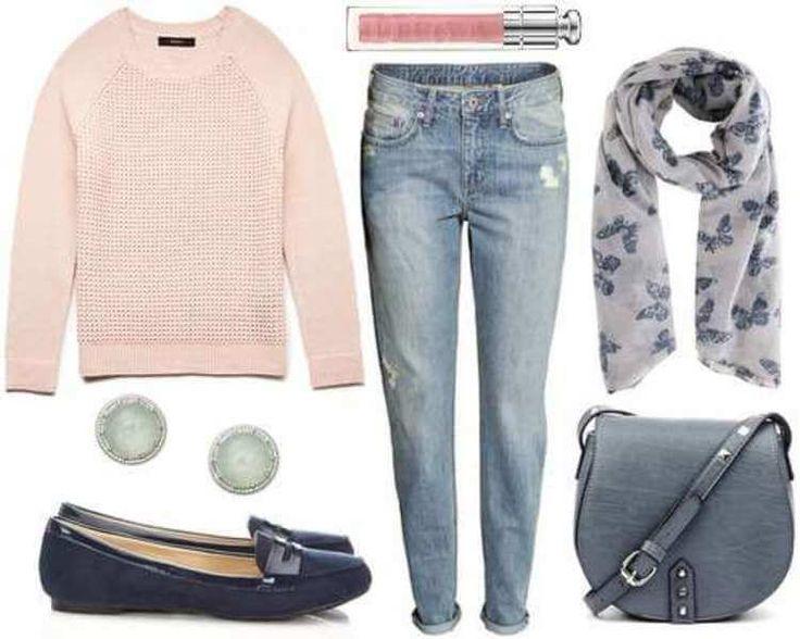 Нежно-розовый свитшот, светло-голубые джинсы, темно-синие мокасины, серая сумка, серый шарфик.