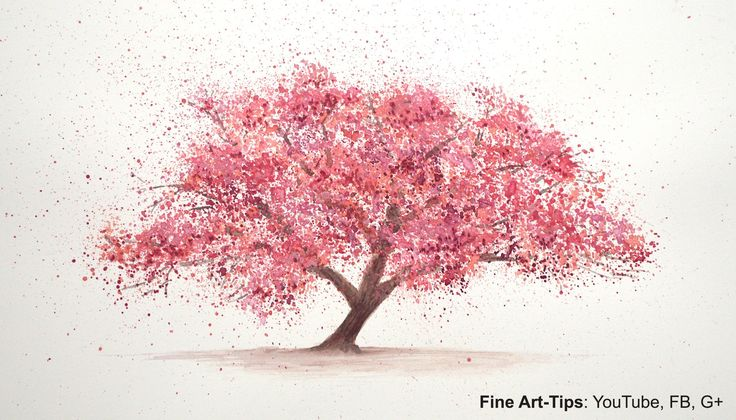 How to Paint a Cherry Tree in Watercolor -  Splatter Painting Trees - Pa...