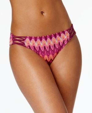 Hula Honey Festival Dream Chevron-Print Strappy Crochet Bikini Briefs - Pink XS