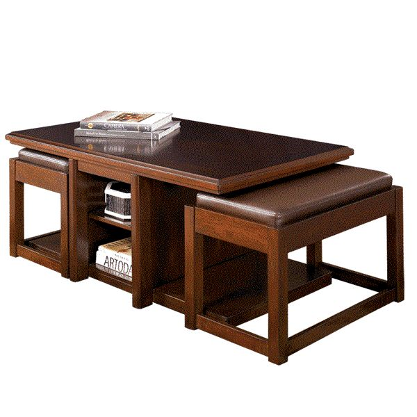 Lance Coffee Table With 2 Ottomans Adams Furniture