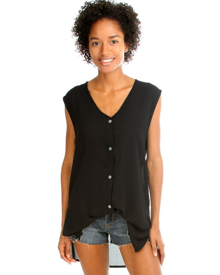 Day Dreamer Button Down Tunic Top In Black