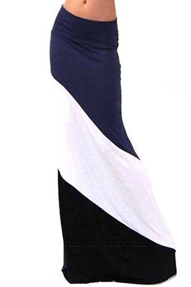 Form Fitting Waist Tri Colorblock Maxi Skirt (Multiple Colors Available)