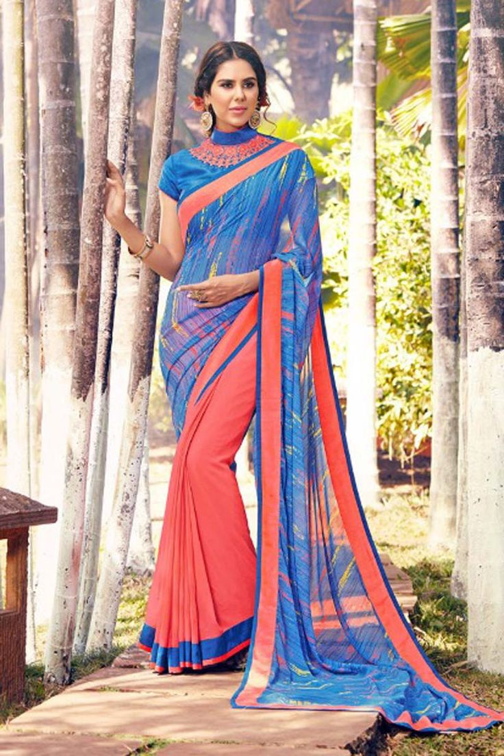Blue Georgette Modern Party Wear Saree