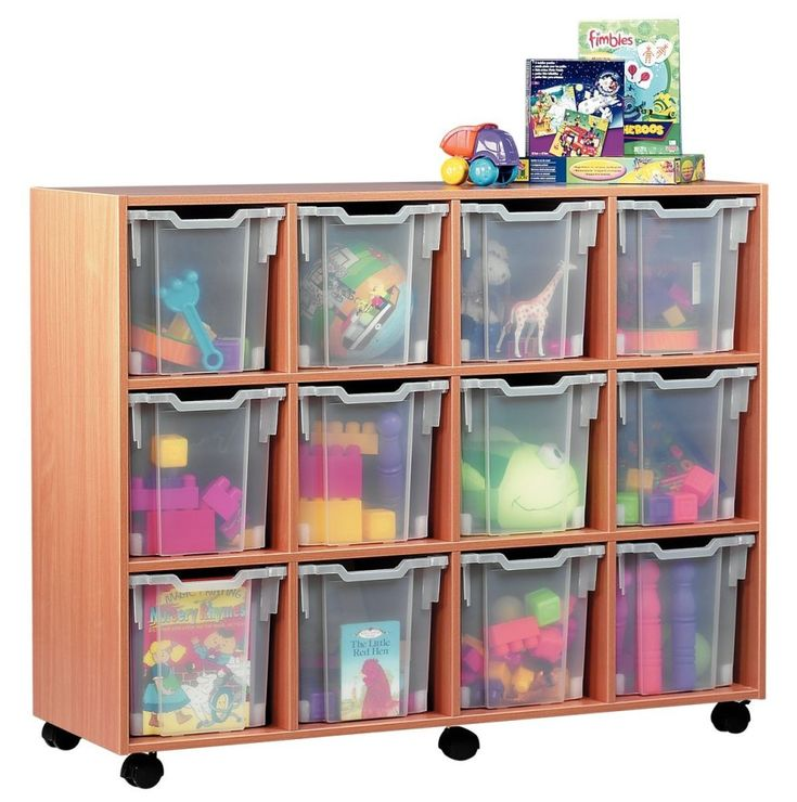 Movable Brown Wooden Toy Storage Ideas Be Equipped Plastic