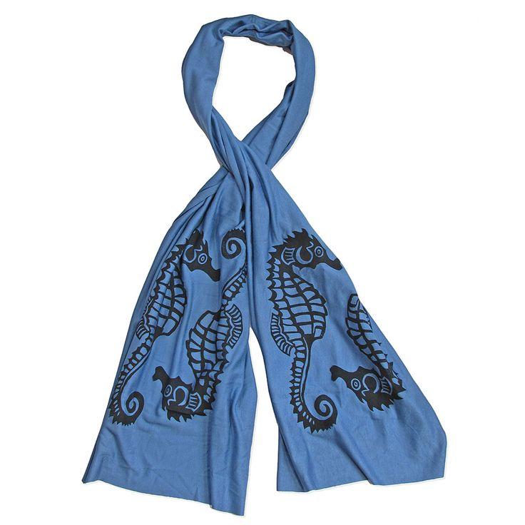 Wind Sparrow Hand Printed Black Ink Botanical Fashion Scarf - Light Blue Seahorse