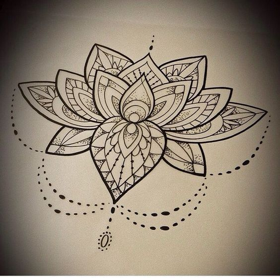 Best Ever Lotus Mandala Tattoo Design Stencil