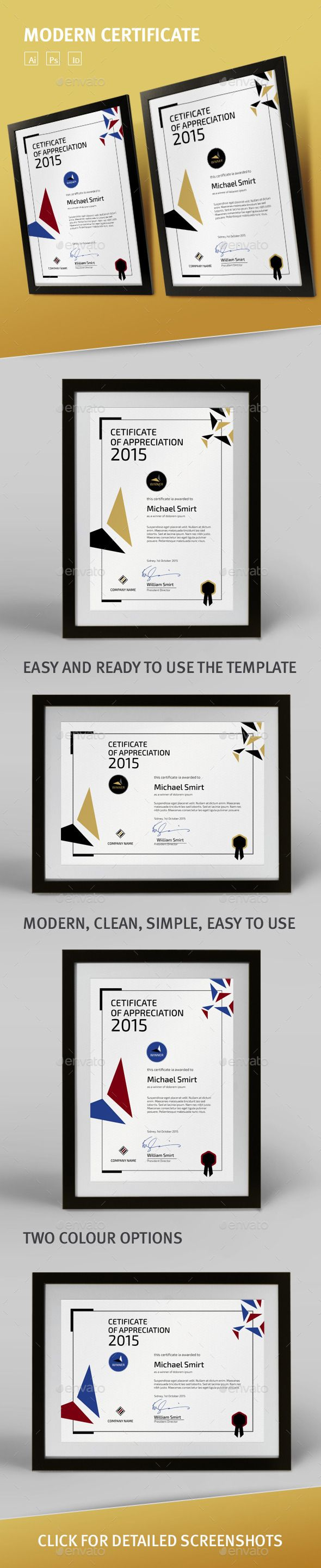 #Modern #Certificate Template - Certificates #Stationery Download here: https://graphicriver.net/item/modern-certificate-template/9303972?ref=alena994