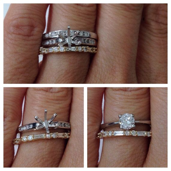 Wedding Band Baguette and Round Diamonds - 14K Yellow Gold Rose Gold White Gold - Thin Wedding Band