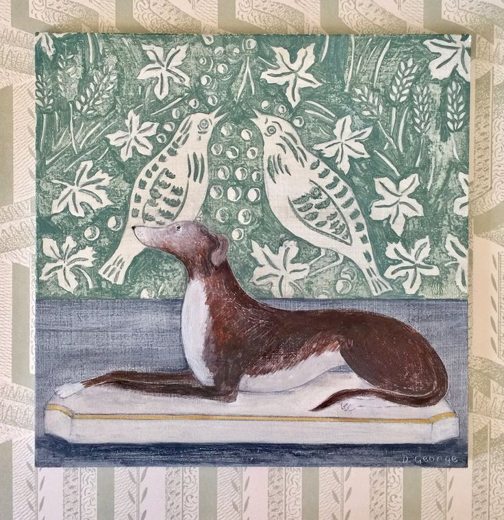 Image of 'Staffordshire dog and blue wallpaper' by Debbie George
