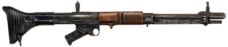 FG 42 with iron sights flipped up (no scope mounted), 1st pattern (metal buttstock and sharply-angled pistol grip) - 7.92x57mm Mauser‎