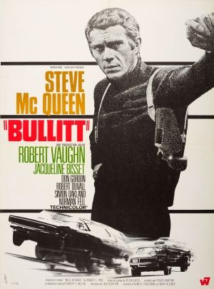 Bullitt Steve McQueen France Landi 1968 - original vintage movie poster by Landi for the French release of the cult American thriller film Bullitt based on the 1963 novel Mute Witness by Robert L. Fish, directed by Peter Yates and starring Steve McQueen, Robert Vaughn, Jacqueline Bisset, Don Gordon and Robert Duvall, with the jazz inspired music score by Lalo Schifrin, listed on AntikBar.co.uk