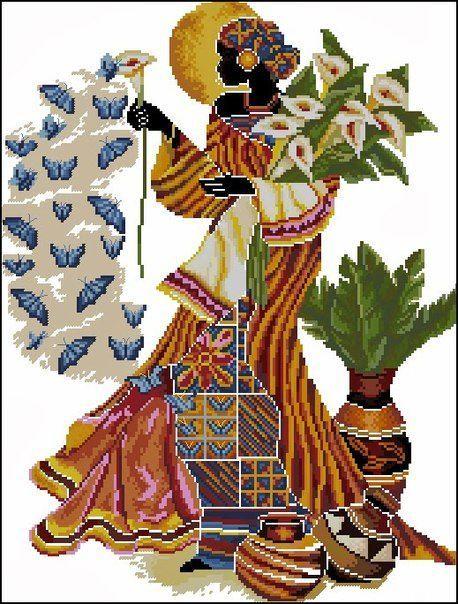 0 point de croix femme africaine aux paillons - cross stitch african lady with butterflies