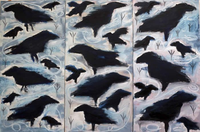"Dark Bird Rendevous, 36"" x 24""  three panels oily corvids all by Kelly Moore"