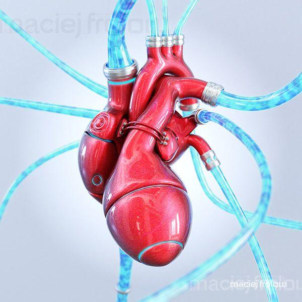 Mechanical heart made of red metal  #medical #heart #mechanics #science #health #futuristic #machine #robot #cyborg #blood #life #technology #ideas #concept #innovation
