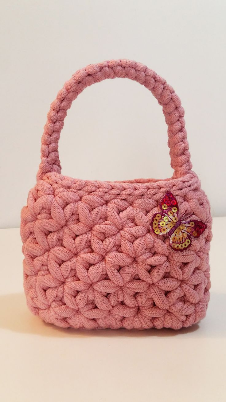 1-Mini crochet bag cestino in fettuccia di cotone