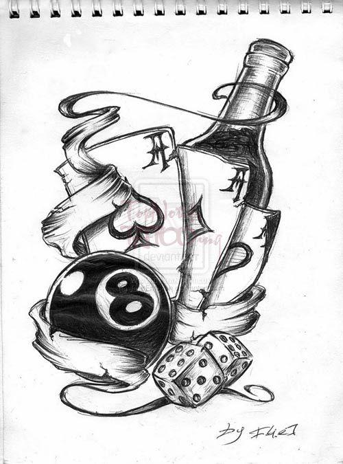 8 ball tattoo design scroll tattoo dice