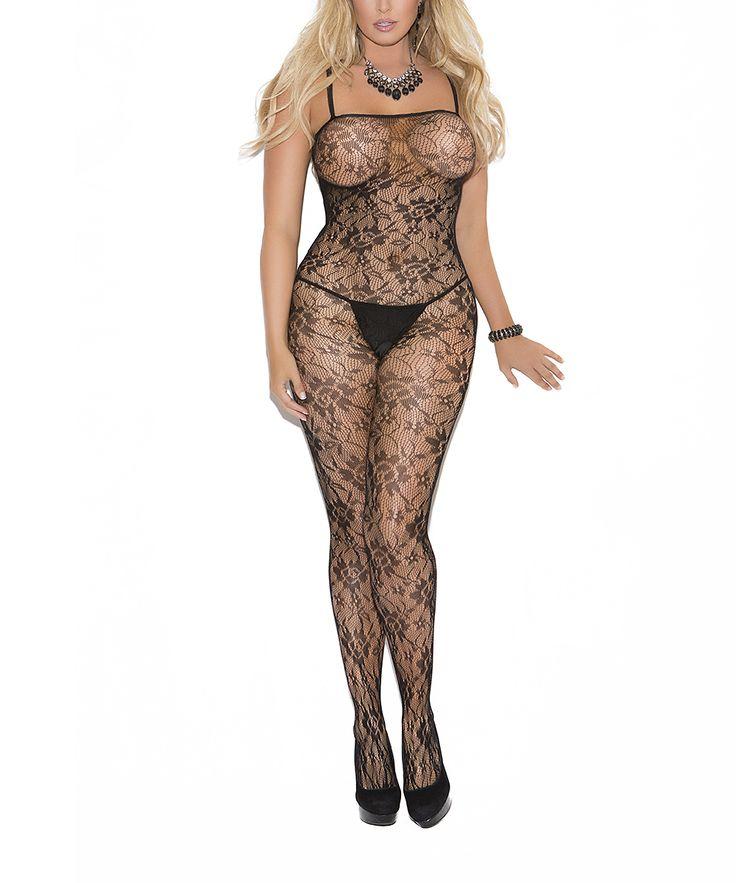 Black Floral Lace Body Stocking - Plus