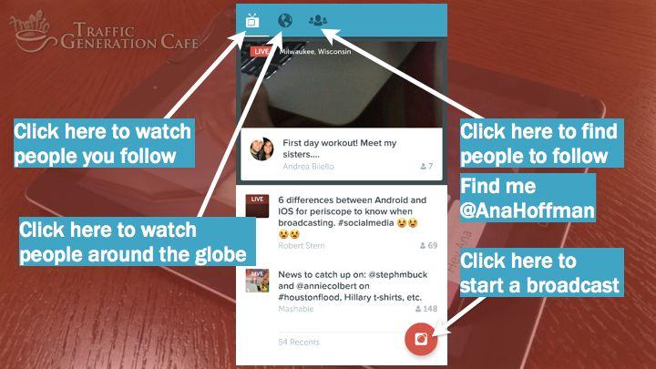 Periscope on Android home page: here's what you are looking at. Full tutorial: http://tgcafe.it/periscope-tutorial?utm_content=bufferf0d02&utm_medium=social&utm_source=pinterest.com&utm_campaign=buffer