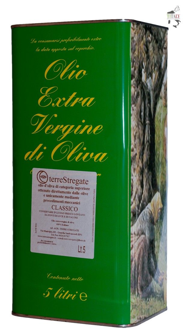 "EXTRA VIRGIN OLIVE OIL ""CLASSIC"" - TIN 5 lt  Fine olive oil produced in the territory of Sannio Benevento, fluid and yellow color with green highlights. This extra virgin olive oil by the delicate and intense aroma, should be stored at cellar temperature (12-16 ° C) and is used to flavor salads and soups raw and as an essential ingredient in the kitchen."
