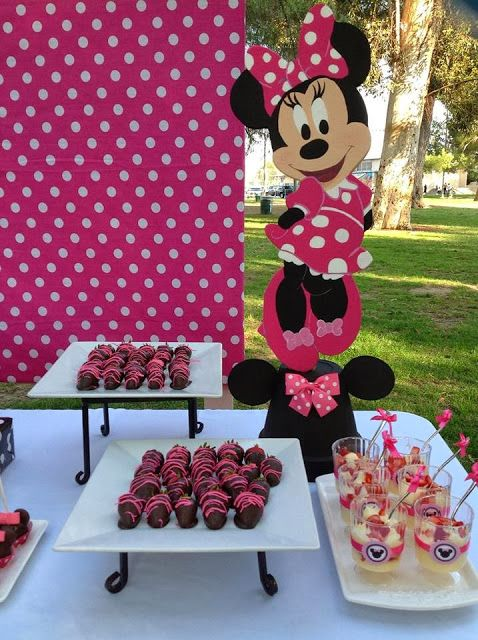 Pink minnie mouse parties party decorations via for Baby minnie mouse party decoration