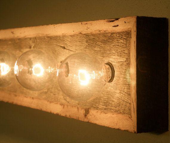 Vanity Light Fixture Reclaimed Oak Barnwood by ShotHouseStudios