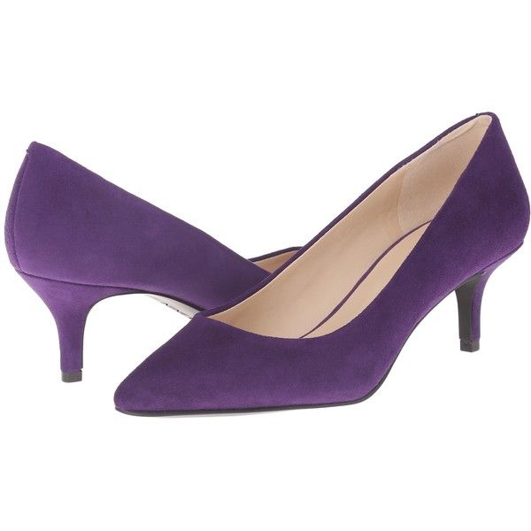 Nine West Xeena Women's 1-2 inch heel Shoes ($63) ❤ liked on Polyvore featuring shoes, pumps, purple, nine west shoes, purple shoes, kitten heel shoes, slip-on shoes and purple pumps